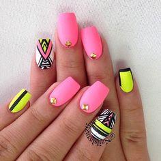 Neon Pink, Matte Tribal Nail Design