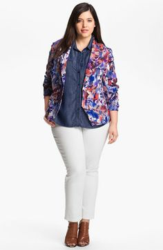 Gibson Floral Print Blazer (Plus) | Nordstrom - I'm digging the shirt/blazer combo, but what's with the cropped pants everywhere? No thanks!