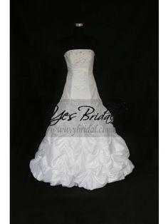 Ball Gown Strapless Floor-length Satin Chiffon Wedding Dress WBG0001