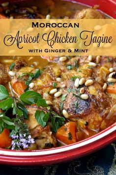Apricot Chicken Tagine with Ginger & Mint is an exotic, warmly spiced stew that is easy to prepare, family-friendly, and oh so delicious! Moroccan Tagine Recipes, Moroccan Stew, Moroccan Dishes, Moroccan Chicken, Moroccan Food Recipes, Tagine Cooking, Morrocan Food, Apricot Chicken, Middle Eastern Recipes