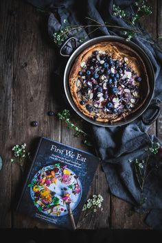 Sharing a recipe from my new cookbook, First We Eat, on the blog today! It's a delicious and beautiful breakfast recipe for a blueberry Dutch baby pancake.