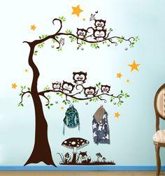 100% Rauhfaser tauglich    Wandtattoo Garderobe Eulenwandtattoo Eulen auf dem Baum als Wandgarderobe nutzbar M1645 (wird ohne Wandhaken geliefert)  **Wandtattoo Eulen auf Baum als...