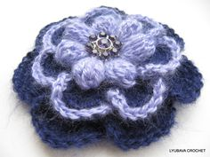 PDF Mohair Flower Brooch, Tutorial Crochet Flower Pattern Pdf INSTANT DOWNLOAD, Big Flower 3D Lyubava Crochet Pattern number 81. via Etsy.
