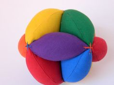 Minimalist Puzzle Ball - Sensory Learning Toy - Montessori Toy Ball - Baby Clutch Ball - Primary Colors Soft Fabric Ball - Learn to Throw Ball.