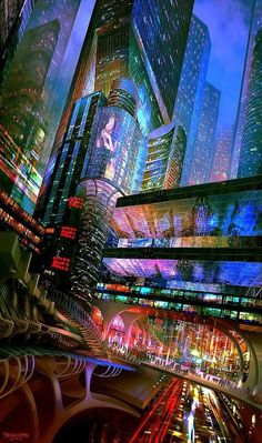 City landscape art sci fi 31 Ideas for 2019 Cyberpunk City, Cyberpunk Kunst, Cyberpunk Aesthetic, Futuristic City, City Aesthetic, Futuristic Architecture, Cyberpunk Movies, Fantasy Art Landscapes, Fantasy Landscape