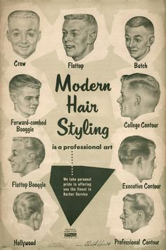 """""""Modern Hair Styling is a professional art. We take personal pride in offering you the finest in Barber Service."""" 1956 men's hairstyles guide."""
