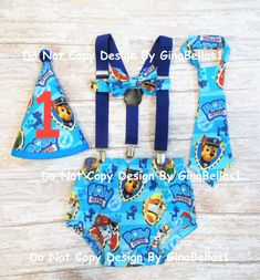 Paw Patrol Birthday cake smash outfit Marshall by GinaBellas1