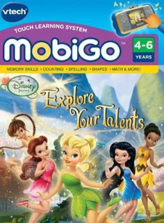 VTech MobiGo Software Cartridge - Disney's Fairies by VTech. $13.12. Explore the fairy world. Play 6 learning games as different fairies that teach counting, addition and subtraction, letters, spelling, shapes, creativity and more. Ships in Certified Frustration-Free Packaging. Touchscreen technology provides fun and innovative game play. Features favorite Disney fairy friends Tinker Bell, Silvermist, Rosetta, Iridessa and Fawn, and the voice of Tinker Bell. N...