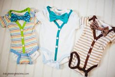 Tutorial on turning onesies to onesie cardigans for two | http://babyclothes118.blogspot.com