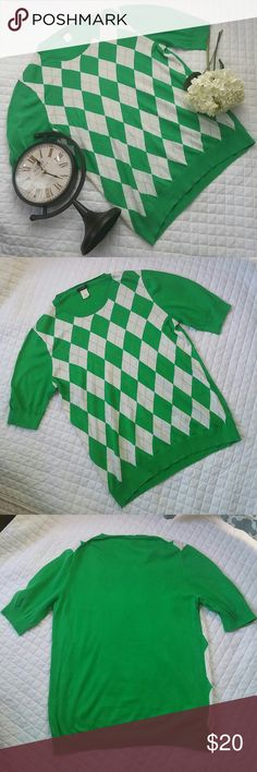 Retail J. CREW Argyle Crewneck Sweater Gently used, in great condition with no stains, holes or rips! Soft, 100% cotton!  All of my items come from a clean, smoke-free home! Save when you bundle! Check my closet for more J. Crew items! Please let me know if you have any questions! J. Crew Sweaters Crew & Scoop Necks