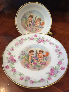 Vintage-H-M-S-Royal-Hanover-Germany-Cupid-Teacup-and-Saucer
