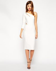 ASOS | ASOS Cut Out One Sleeve In Texture Dress at ASOS
