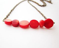 Red coral necklace. Simple elegant spring summer fashion natural coral necklace