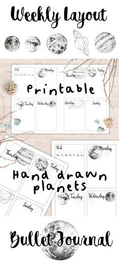 Printable 2 page weekly layout for your bullet journal or planner!  This hand-drawn weekly spread is both minimalist and cute with ink illustrations of the planets (and moon/sun) associated with each day of the week. Goes really well with bullet journal setups that include moon phase calendars, too!