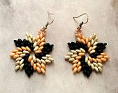 Tree colour superduo earrings , beadwork earrings