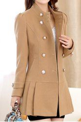 Stylish Stand-Up Neck Long Sleeve Double-Breasted Women's Coat