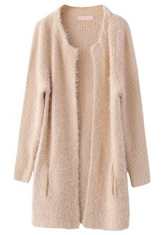 Apricot Plain Round Neck Long Sleeve Sweater