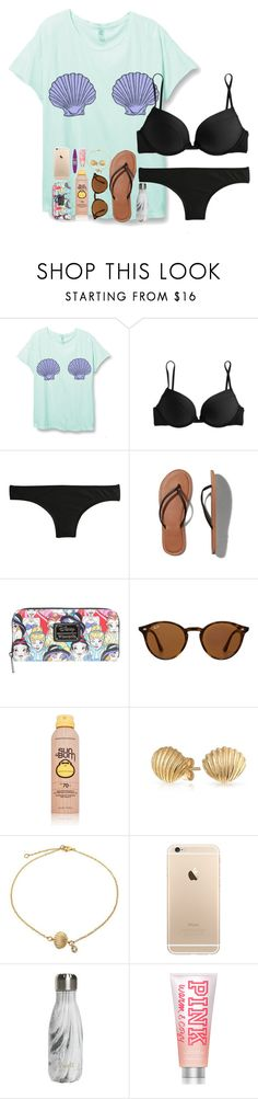 example set- june; day 2 by pineappleprincess1012 on Polyvore featuring J.Crew, Abercrombie & Fitch, Bling Jewelry, Ray-Ban, Maybelline, Sun Bum, Victoria's Secret PINK, S'well and pineapplesummer