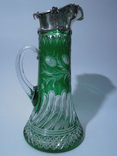Gorham Sterling Silver and Green Glass Claret Jug. 1897