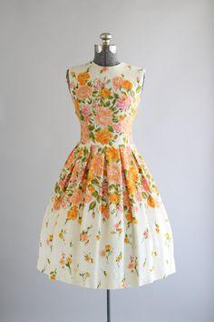 Vintage 1960s Dress / 60s Floral Dress / Orange and Pink Floral Dress w/ Pleated Skirt S