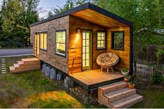 20 Best Tiny House Design Ideas - Page 16 of 21 Wooden House Design, Small House Design, Small Wooden House, Small Houses, Rest House, Tiny House Living, Living Room, Insulating A Shed, Bungalow
