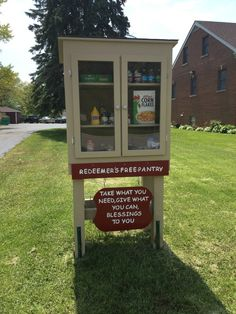 Free Pantry/Blessing Box Available at Redeemer. - Oak Forest, IL - Free Pantry Blessing Box available to the community at Redeemer's Lutheran Church Little Free Libraries, Little Library, Free Library, Homeless Care Package, Little Free Pantry, Make A Donation, Donation Boxes, Kindness Activities, Oak Forest