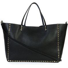Valentino Rockstud Large Reversible Tote Bag ($4,050) ❤ liked on Polyvore featuring bags, handbags, tote bags, denim black, reversible handbag, reversible tote bag, valentino purses, top handle purse and valentino handbags