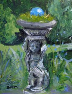 Harrison House Garden  8 x 10 acrylic on canvas  by susan e. jones