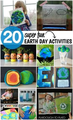 20 Earth Day Activities – Playdough To Plato 20 Super Fun Earth Day Activities for Kids. Science experiments, crafts, playdough recipes… tons of ideas! Earth Day Activities, Spring Activities, Science Activities, Science Experiments, Science Projects, Recycling Activities For Kids, Earth Day Games, Craft Projects, Kids Crafts