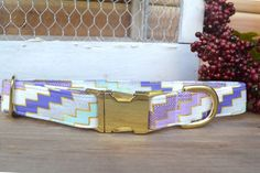 Dog Collar  Mint Purple and Metallic Gold  Girl by WalkintheBark
