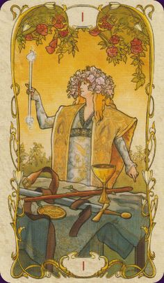 Another version of The Magician card in the tarot deck, and maybe one that suits Sam better. This is from the Mucha tarot deck.