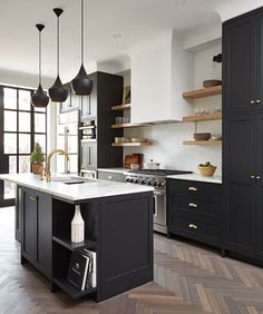 20 Dark Moody Kitchens That Are Totally Dreamy White Kitchen Cabinets Black Ikea