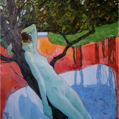 Original Art Oil Painting Nude Woman Figure On Lake Landscape. Pear... ($4,670) ❤ liked on Polyvore featuring home, home decor, wall art, lake wall art, red home accessories, landscape wall art, red wall art and aqua home accessories