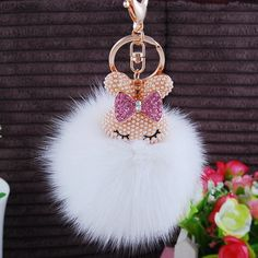 Cute Genuine Rabbit Fur Ball Plush Bling Diamond Pom Pom Key Chain Pendant