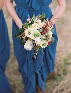 Ceremony By Joanna August | Blue Hues | Style: Lacey Long | Color: Sea Of Love | Real Wedding | bridesmaid dresses
