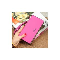 Bowknot long wallet zipper purse  clutches bags 5.5'' phone bags (855 RUB) ❤ liked on Polyvore featuring bags, wallets, rose red, zip bag, card holder wallet, long zipper wallet, pink wallet and zipper bag