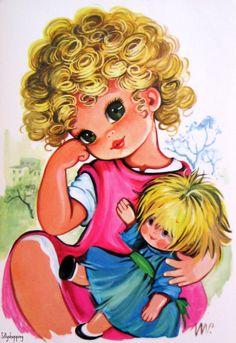 Vintage Big Eyed Girl Postcard   por Sillyshopping
