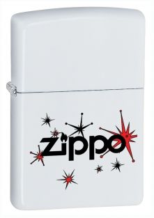 Vintage Stars Zippo lighter now available from Zippo UK now only £17.50 ​White Matte. Packaged in an environmentally friendly gift box. Lifetime Guarantee.