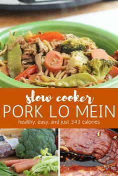 Slow Cooker Pork Lo Mein - Slender Kitchen. Works for Weight Watchers® diet. 343 Calories.