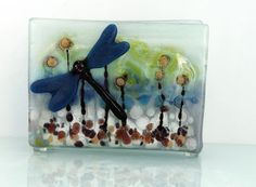 Fused Glass napkin holder blue glass casting by virtulyglass