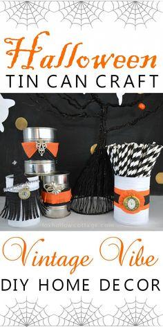 Vintage Vibe DIY Halloween Tin Can Craft foxhollowcottage