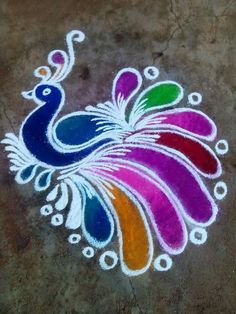 peacock rangoli designs for diwali Rangoli Designs Peacock, Best Rangoli Design, Indian Rangoli Designs, Rangoli Designs Latest, Small Rangoli Design, Rangoli Patterns, Rangoli Ideas, Rangoli Designs With Dots, Rangoli Designs Images