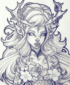 Idea for drawing- deer fairy girl