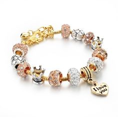 Szelam Heart Charm Bracelets For Women Snake Chain Gold Plated Bracelets & Bangles Fashion Jewelry Bracelets Diy, Gold Plated Bracelets, Pandora Bracelets, Crystal Bracelets, Gold Bangles, Pandora Charms, Crystal Beads, Charm Bracelets, Glass Crystal