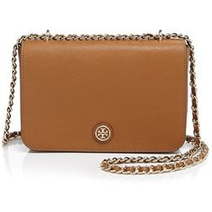 Tory Burch Shoulder Bag - Robinson Adjustable found on Polyvore featuring bags, handbags, shoulder bags, bolsas, purses, convertible handbag, convertible purse, shoulder strap bag, brown purse and saffiano leather handbag