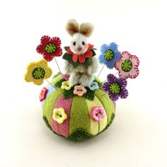 OOAK  2015 Janie Comito~ Spring Flowers ~ Miniature Bunny Rabbit + Pin Cushion   #EasterSpring