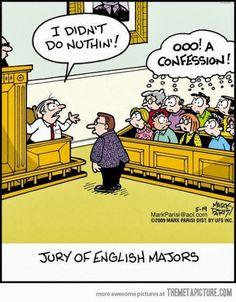 #Grammar #Humor | Jury of English Majors | Liza Sperling - Google+ | #funny