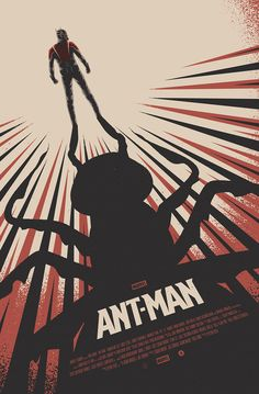 "Officially licensed Alternative Movie Poster for the 2015 Poster Posse's tribute to the Marvel film ""Ant-Man"".During Ant-Man's opening weekend, this poster will be given away FREE to anyone purchasing tickets to see the film to at selected AMC Theatr… Poster Marvel, Marvel Movie Posters, Best Movie Posters, Cinema Posters, Movie Poster Art, Cool Posters, Batwoman, Nightwing, Ant Man Poster"