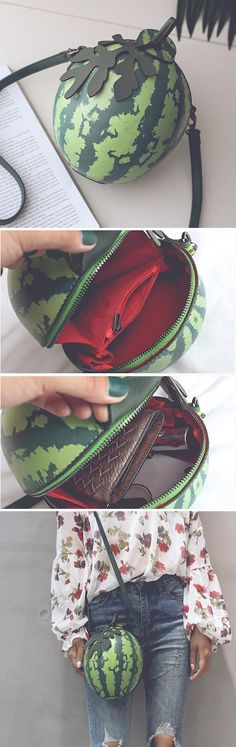 Leather Watermelon Mini Crossbody Bag