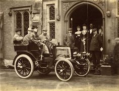 """Photograph of the Hon. Rolls' autocar with HRH The Duke of York, Lord Llangattock [Rolls' father], Sir Charles Cust and the Hon. Rolls as occupants"", taken by John Howard Preston. Charles Stewart Rolls went on to co-found Rolls-Royce in. Vintage Models, Vintage Cars, Vintage Photos, Antique Cars, Rolls Royce, Royce Car, Flint Michigan, Hyundai Cars, King Edward Vii"